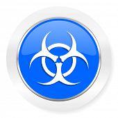 biohazard blue glossy web icon