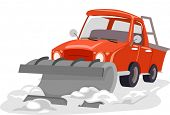 Illustration Featuring a Snow Plow Plowing Through Snow