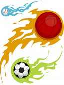 Illustration Featuring Balls Covered in Flames