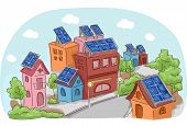 Illustration Featuring an Entire Community Using Solar Panels