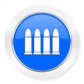 ammunition blue glossy web icon