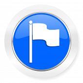 flag blue glossy web icon