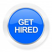 get hired blue glossy web icon