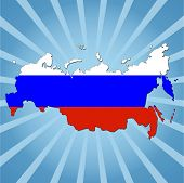 Russian Federation map flag on blue sunburst illustration