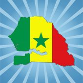 Senegal map flag on blue sunburst illustration
