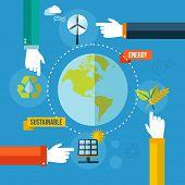 Green Ecology Concept Flat Illustration