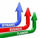 3D Dynamic Business Planning Arrows