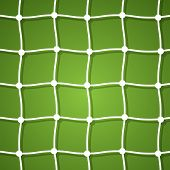 Soccer net on a green background with place for your text.