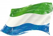 waving Sierra Leone grunge flag. A grunge flag of Sierra Leone in the wind