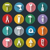 Flat Working Tools Icons
