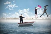 Young businessman pulling a tightrope for business people against white background with vignette
