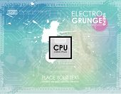 Grunge background in marine color. Grunge banner with an inky dribble strip with copy space. Abstract background for party. summer background. electra music - Processor