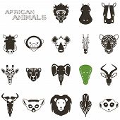 African Animal Black icons
