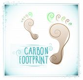 foto of carbon-footprint  - Spiral footprints with floral motifs and hand written text with an eco concept - JPG