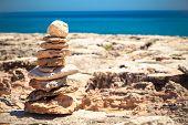 Stones Balance, Pebbles Stack Over Blue Sea