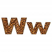 Coffee Letter On White.  One Letter Of  Coffee Alphabet. Letter W.