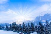 Winter Mountains.  Sun Shine In Blue Sky