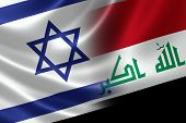 stock photo of mesopotamia  - Merged Israeli and Iraqi flag on satin texture - JPG
