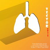 Human lung. Flat modern web button with long shadow and space for your text
