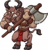 image of minotaur  - Cartoon minotaur with axe - JPG