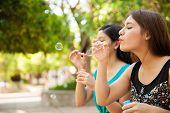 Blowing Bubbles At A Park