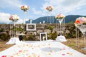 wedding decoration with flowers on the coast