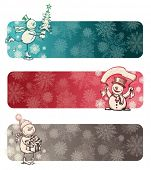 Three Christmas banners with hand drawn snowman