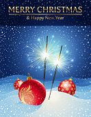Holidays illustration - sparklers and Christmas baubles in snowdrift