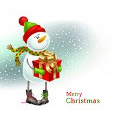 Holiday illustration - Smiling snowman dressed in winter clothing and holding in hands a gift