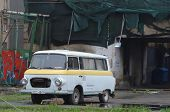 KIEV, UKRAINE - APR 19, 2014 Downtown of Kiev Vintage transport in the rioters camp Putsch of Junta.
