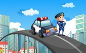 Illustration of a patrol car and a policeman in the middle of the highway