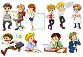 Illustration of the business minded people engaging in different activities on a white background