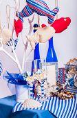 Decoration on the marine theme with seashells, fish