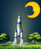 Illustration of a rocket going to the sky with a sleeping moon