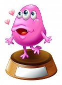 Illustration of a pink beanie monster standing above the trophy stand on a white background
