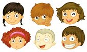 Illustration of the six heads of different kids on a white background
