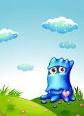 Illustration of a blue monster at the hilltop