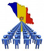 Lines of people with Moldova map flag illustration
