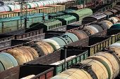 stock photo of railroad yard  - A train yard full of freight trains High Angle View - JPG