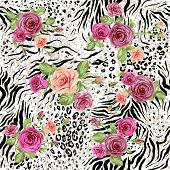 Seamless pattern with animal prints and decorative roses. Raster version.