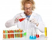 Crazy scientist working with tubes isolated on white