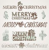 Hand drawn Christmas greetings and signs