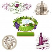Set of wine & winemaking emblems & labels