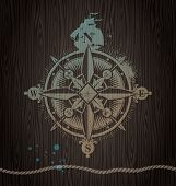Compass rose painting on a wooden wall