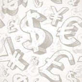 Seamless background with hand drawn currency signs