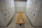 Row of steel lockers along the chair, Locker room for worker in job site, Keep personal belonging in