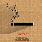 Smoking sign. cigarette. Flat modern web button on a flat geometric abstract background