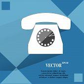 Retro telephone. Flat modern web button on a flat geometric abstract background