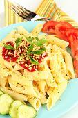 Rigatoni pasta dish with tomato sauce close up
