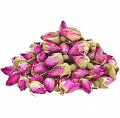 Heap pile of Tea-Rose Buds  isolated on white background